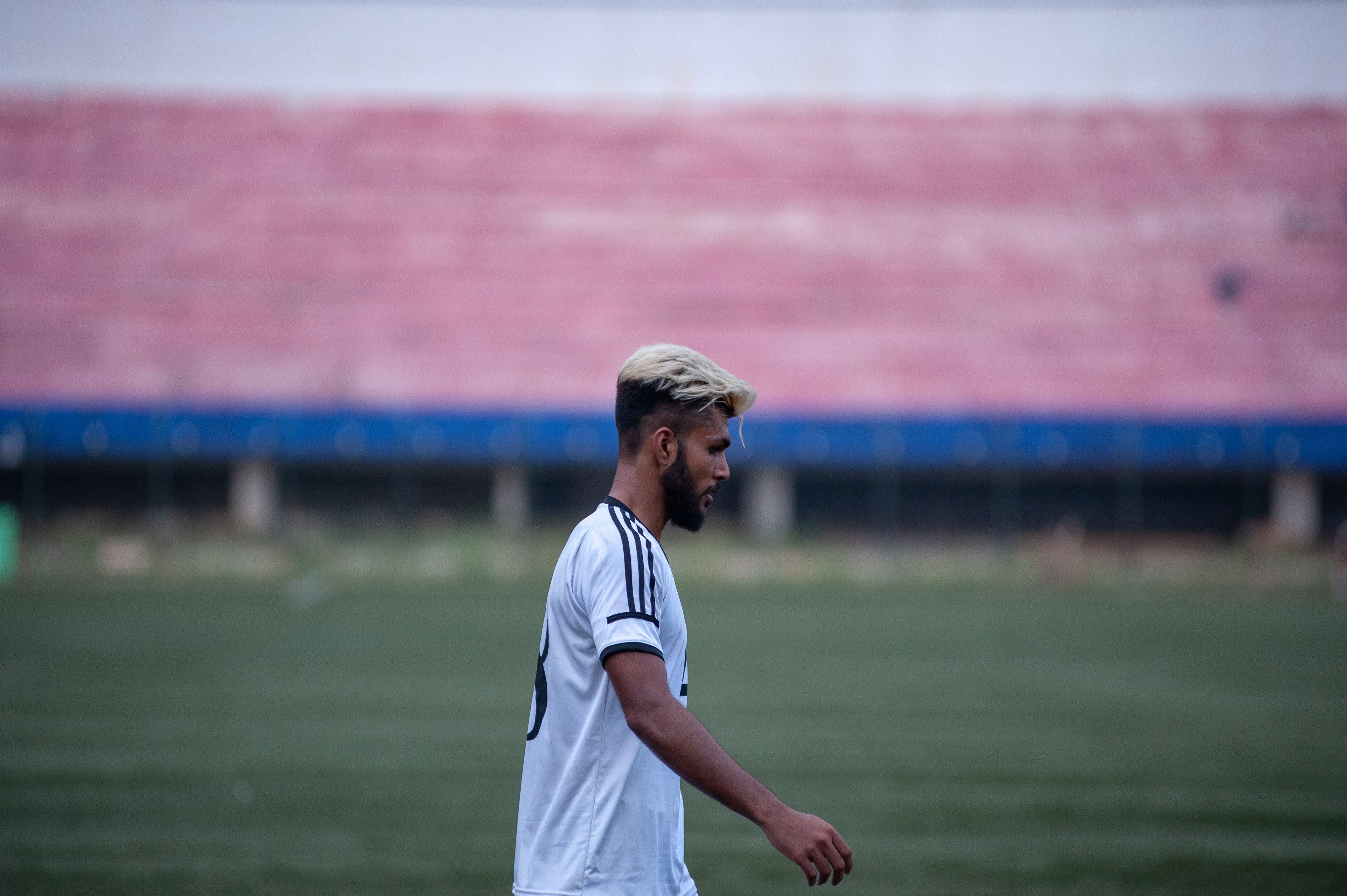 A Mohammedan Sporting players takes his position on the field at the start of the second half.