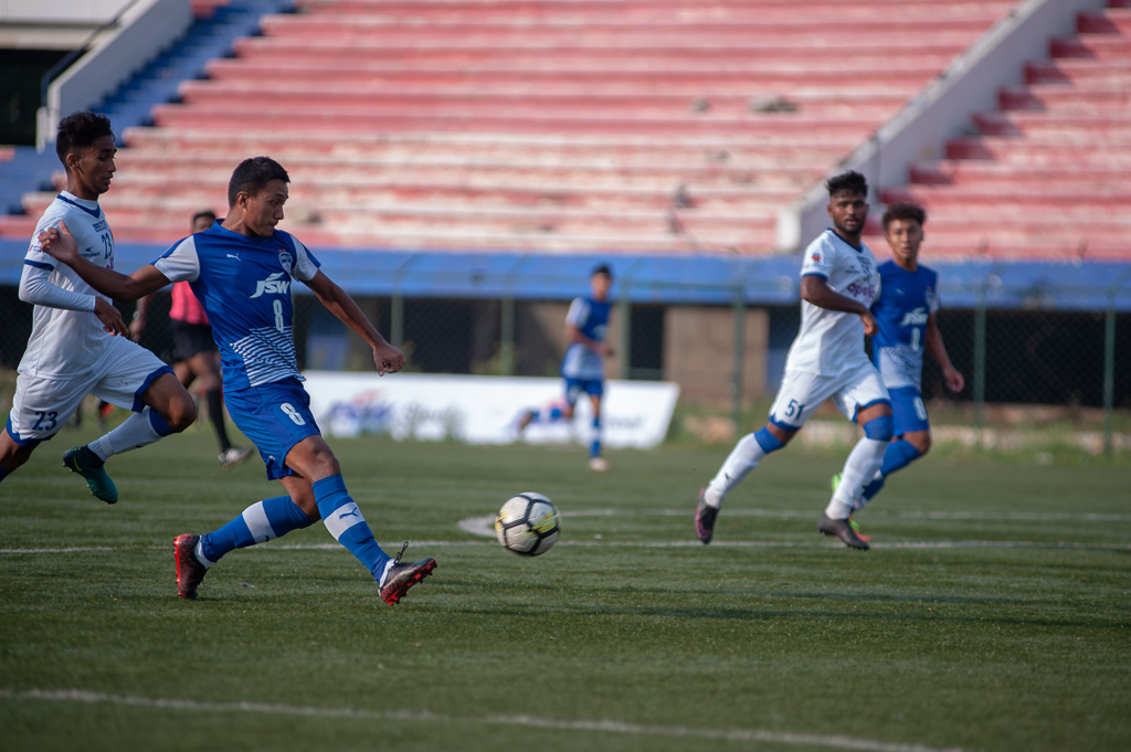 Lalengzama Vangchhia is seen striking the ball. His goal made it 5-0 against the Chennaiyin FC Reserves.
