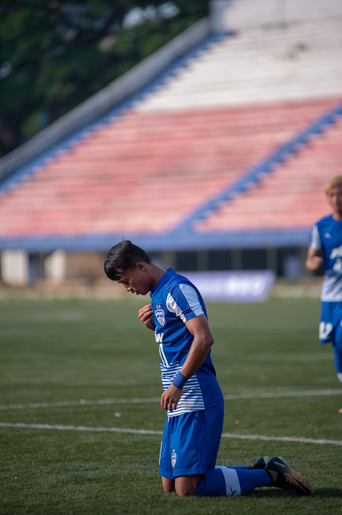 BFC B's Roshan Singh is down on his knees and is making the sign of the cross after scoring against Chennaiyin FC Reserves.