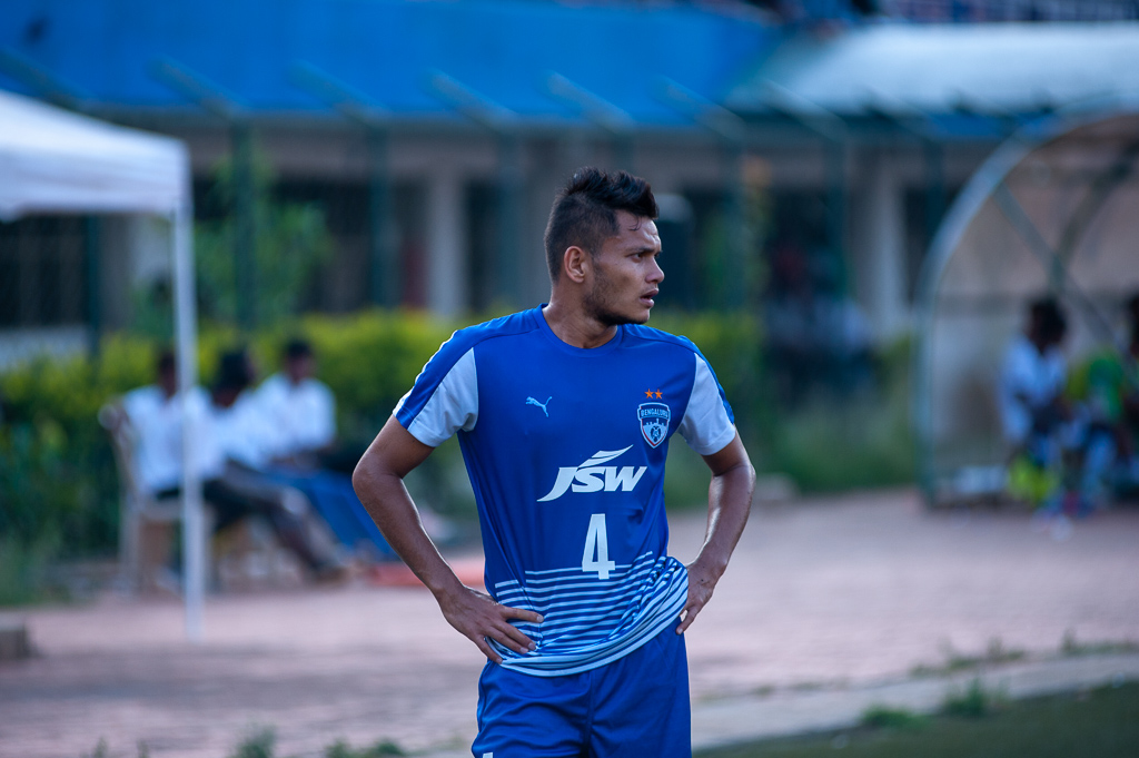 Medium shot of BFC's senior team player, Nishu Kumar featuring for their B team.